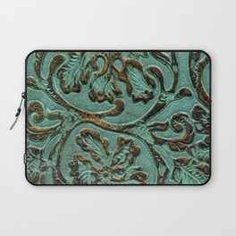 Aqua Flowers Tooled Leather Laptop Sleeve