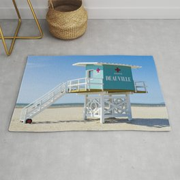 Lifeguardhouse at the Beach in Deauville France Rug