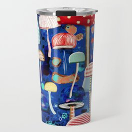 Blue Mushrooms - Zu hause Marine blue Abstract Art Travel Mug