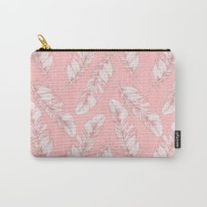 White feathers on a pink background Carry-All Pouch