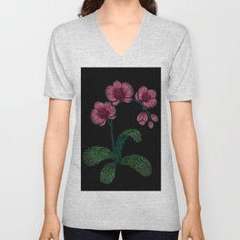 Embroidered Flowers on Black 01 Unisex V-Neck