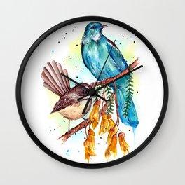 Kowhai Tui and Fantail Wall Clock
