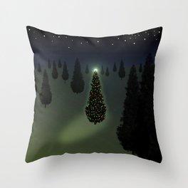 Christmas Tree Green Throw Pillow