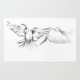 Peace in Mid-Flight (White) Rug