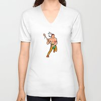 lacrosse V-neck T-shirts featuring Native American Lacrosse Player Cartoon by patrimonio