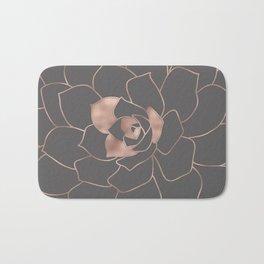 Rosegold  blossom on grey - Pink metal - effect flower Bath Mat