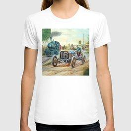 Vintage Cars Racing Scene,train painting T-shirt