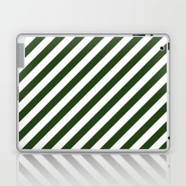 Large Dark Forest Green and White Candy Cane Stripes Laptop & iPad Skin