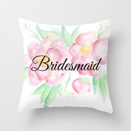 Pink Floral Watercolor Bridesmaid Gift Throw Pillow