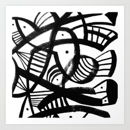 Black and white abstract mid century Art Print