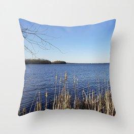 """Incredi-blue"" lake view - Lake Mendota, Madison, WI Throw Pillow"