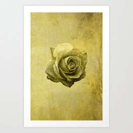 Metallic Gold Rose Flower Luxury Floral Victorian Bohemian Girly Wedding Bride Art Print