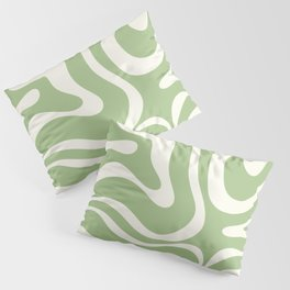 Modern Liquid Swirl Abstract Pattern in Light Sage Green and Cream Pillow Sham