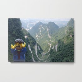 The Little Backpacker in Tianmen Mountains Metal Print
