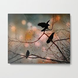 Rainy Day Crows Metal Print