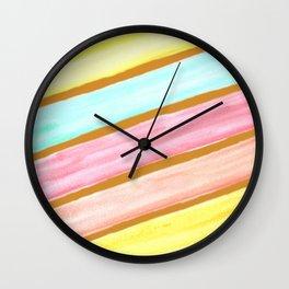 Retro Watercolor Stripes  Wall Clock