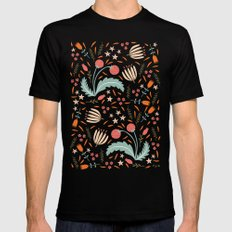 Floral Fusion Black Mens Fitted Tee 2X-LARGE