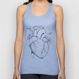 Black and White Anatomical Heart Unisex Tank Top