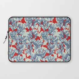 Leaf and Berry Sketch Pattern in Red and Blue Laptop Sleeve