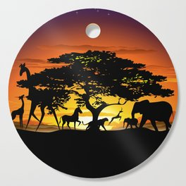 Wild Animals on African Savanna Sunset Cutting Board