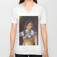 pocahontas V-neck T-shirts featuring pocahontas by marmaseo