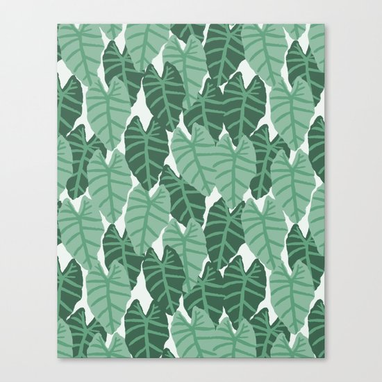 Alocasia indoor house plant hipster watercolor plant pattern botanical leaves green painting home Canvas Print