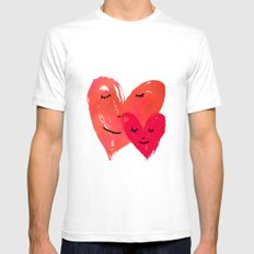 Watercolor couple of hearts SMALL Mens Fitted Tee White
