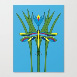 Turquoise Dragonfly Tulip Canvas Print