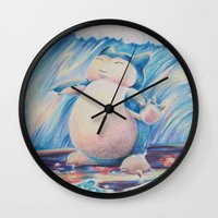 snorlax Wall Clocks featuring Snorlax Used Surf by LaurelAnneEquineArt