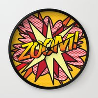 comic book Wall Clocks featuring Comic Book ZOOM! by The Image Zone