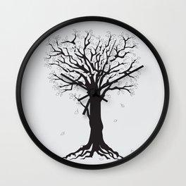 silver tree on the gray Wall Clock