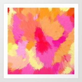 Pink, Orange and Yellow Watercolors Art Print