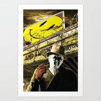watchmen Art Prints featuring Who Watches The Watchmen? by SB Art Productions