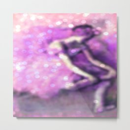 The Dancer by Edgar Degas Pink Lavender Sparkle Metal Print