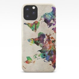 World Map Urban Watercolor iPhone Case