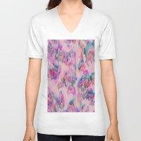 ikat V-neck T-shirts featuring Ikat Glitch by sarahroseprint