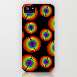 Geometric Rainbow Circle Shapes on a Black Background iPhone Case
