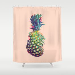 Vintage style pineapple with grunge glitch effect design Shower Curtain
