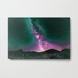 Night Sky Star Landscape - Purple Turquoise Metal Print