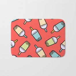 Bubble Tea Pattern in Red Bath Mat
