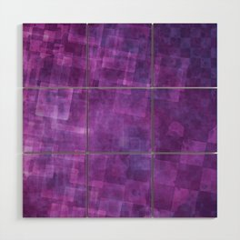 Abstract Purple Squares Digital Painting Wood Wall Art