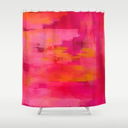 """""""Abstract brushstrokes in pastel pinks and solar orange"""" Shower Curtain"""