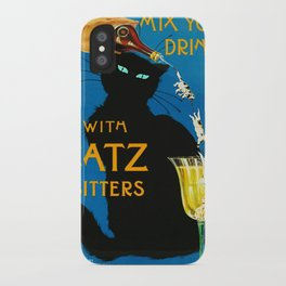 Mix Your Drinks with Catz (Cats) Bitters Aperitif Liquor Vintage Advertising Poster iPhone Case