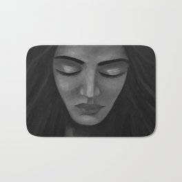 On My Mind by Lu, black-and-white Bath Mat