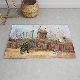 """Vincent Van Gogh """"Scène de rue à Montmartre (Impasse des Deux Frères et le Moulin à Poivre)"""" Rug"""
