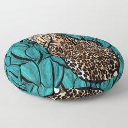 Jungle Cat | Leaves Floor Pillow