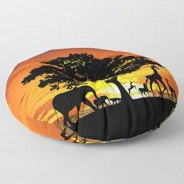 Wild Animals on African Savanna Sunset Floor Pillow