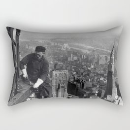 Construction worker Empire State Building NYC Rectangular Pillow