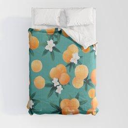 Orange Twist Flower Vibes #8 #tropical #fruit #decor #art #society6 Comforters