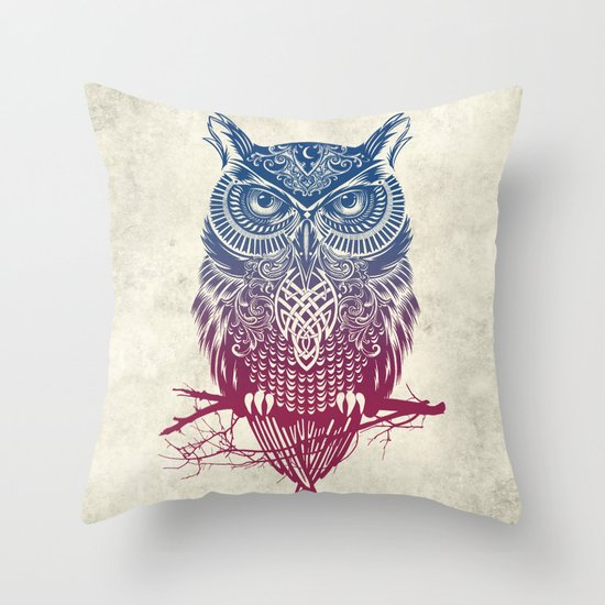 Evening Warrior Owl Throw Pillow